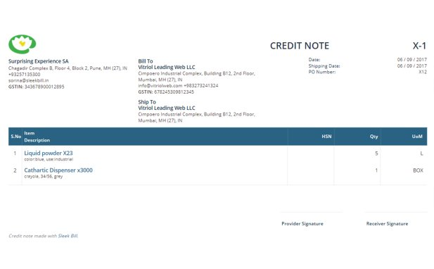 Credit Note Format  Format For Credit Note